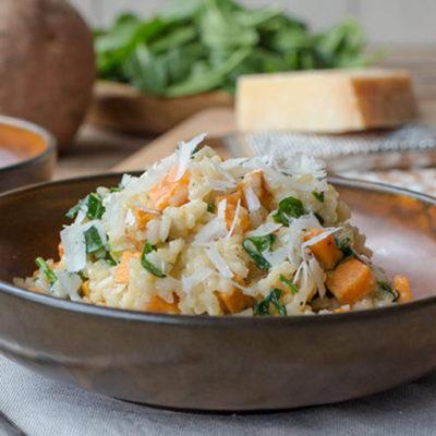Risotto con patate dolci e spinaci