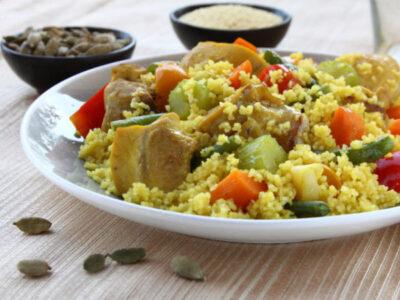 Cous cous con petto di pollo e zucchine