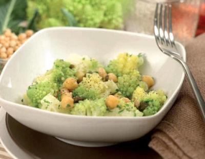 Zuppa di fregola, ceci e broccolo romano